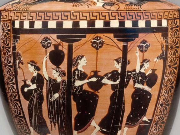 Greek water jar showing women collecting water at a fountain.