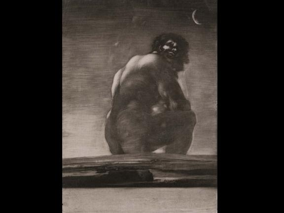 Print of Seated Giant in aquatint with burnishing and scraping