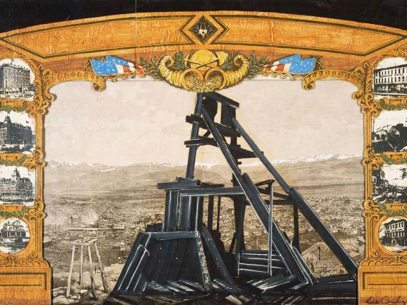 drawing for a curtain for a play that depicts a mine entrance