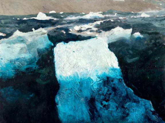 Painting of large hunks of ice floating in sea by coastline, lighthou se in background, Berg, by Jamie Wyeth