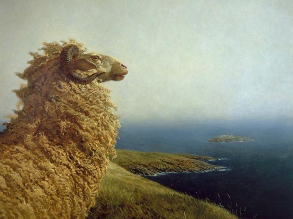 Painting of ram standing on top of hill looking out to the sea, The Islander, by Jamie Wyeth