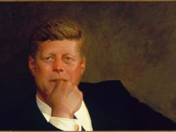 Painting of John F. Kennedy, with hand on chin, by Jamie Wyeth