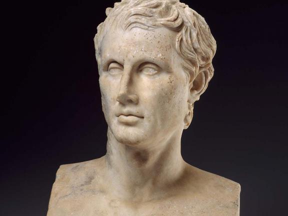 Roman period head sculpture of Menander