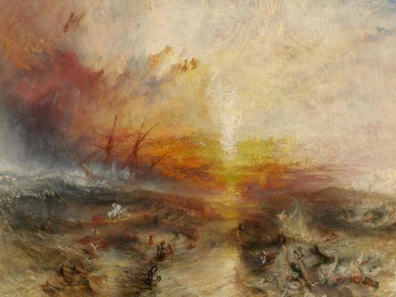 impressionistic painting depicting sunset-lit ocean with tall sailing ship in the distance, and bodies and cargo floating in waves in foreground
