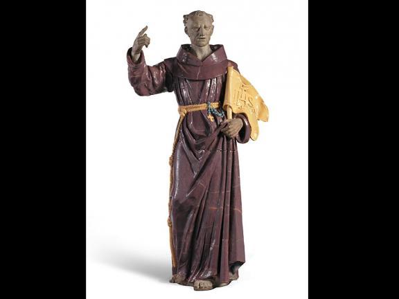 Glazed terracotta sculpture of Saint John of Capistrano