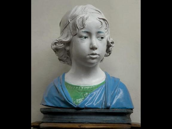 Glazed terracotta bust of a young boy