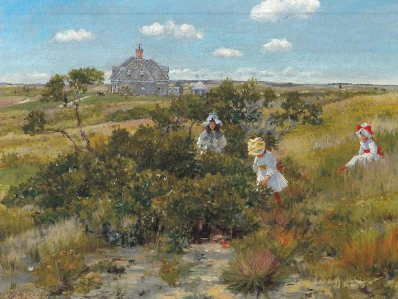 Women picking berries near the sea