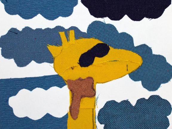 Fabric collage of giraffe with sunglasses