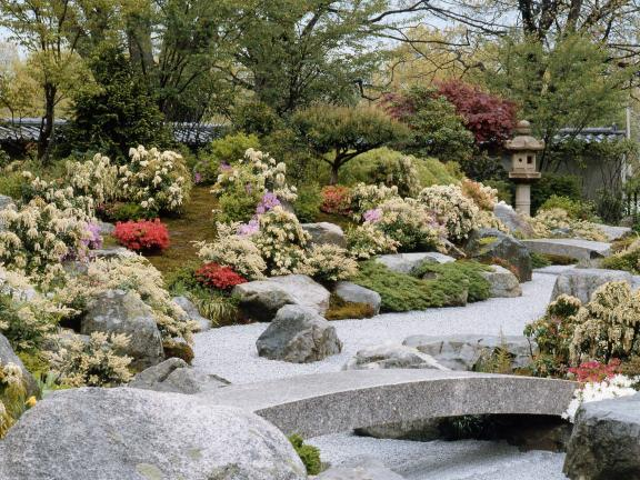 Wide view of Japanese Garden with small stone bridge in foreground