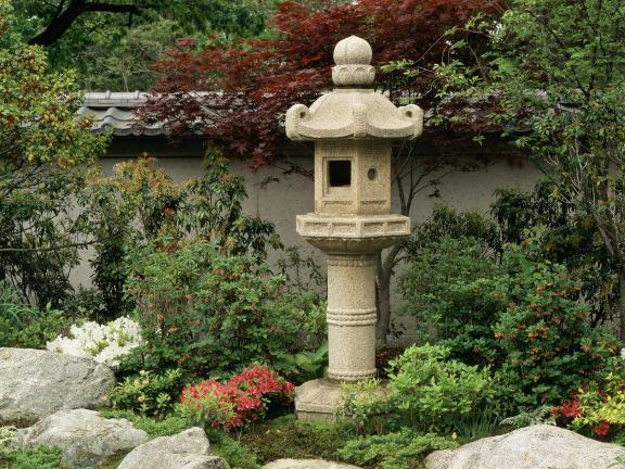 View of Japanese Garden, with stone lantern amidst shrubs