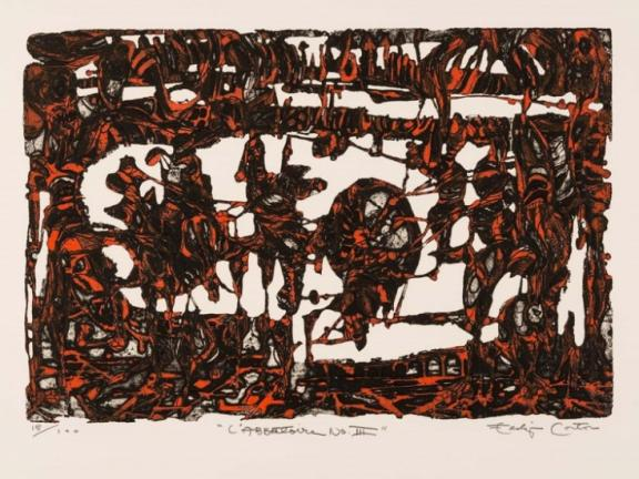 etching featuring bright red splotches in the semblance of figures