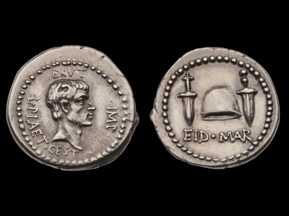 two sides of denarius coin with head of M. Junius Brutus