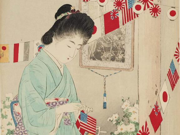 print depicting women stringing together flags from nations around the world