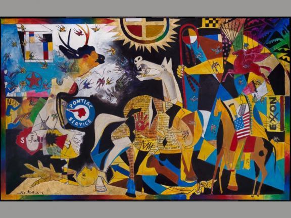 mixed media piece depicting battle