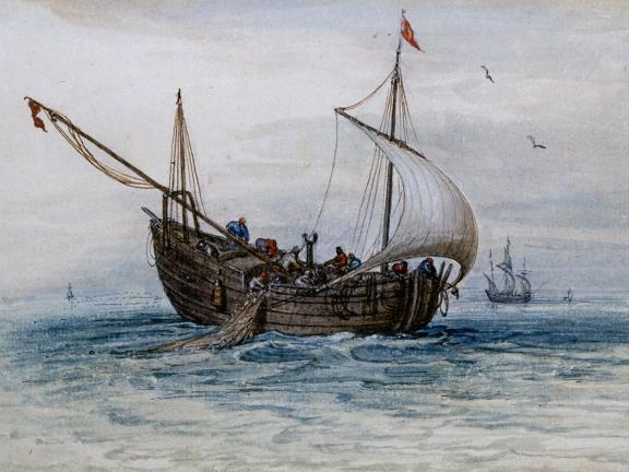 Adriaen Van De Venne, (Watercolor) A Herring Buss, 1625
