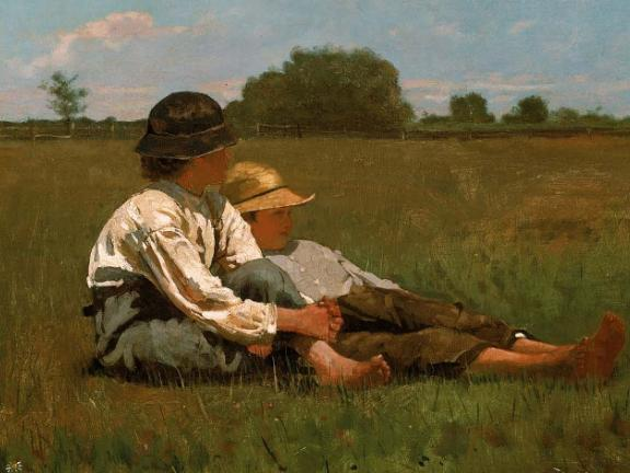 painting of two boys sitting in a pasture