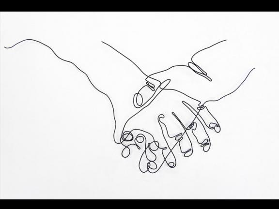 Wire drawing of two hands intertwined