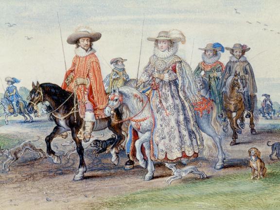 Adriaen Van De Venne, (Watercolor) The King and Queen of Bohemia, 1625