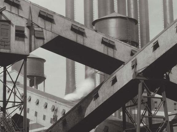 Charles Sheeler, Criss-Crossed Conveyors - Ford Plant, Negative date: 1927. The Lane Collection.