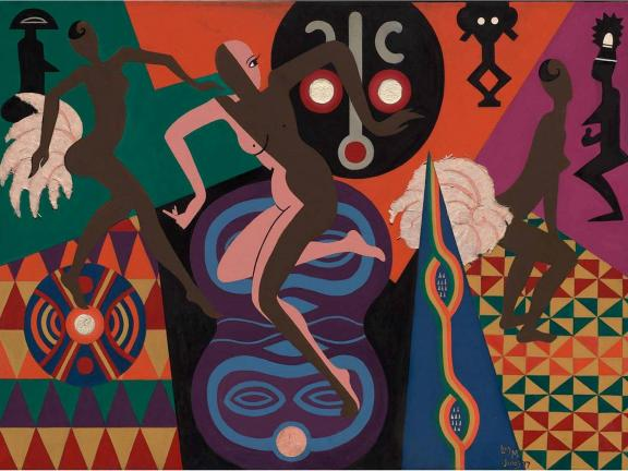 Painting depicting abstract nude figures dancing in front of colorful patterns, La Baker, by Lois Mailou Jones