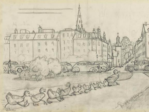"Robert McCloskey's drawing for Make Way for Ducklings (""There they waded ashore and waddled along till they came to the highway"")"