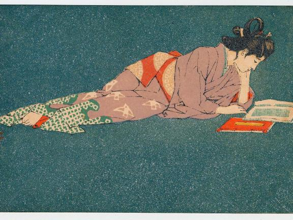 Ichijô Narumi (Japanese, 1877–1910), Postcard of Genroku Beauty 2, undated. Color lithograph; ink, color and metallic pigment on paper. Leonard A. Lauder Collection of Japanese Postcards.