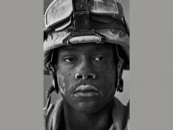 close-up photograph of early 21st century American soldier