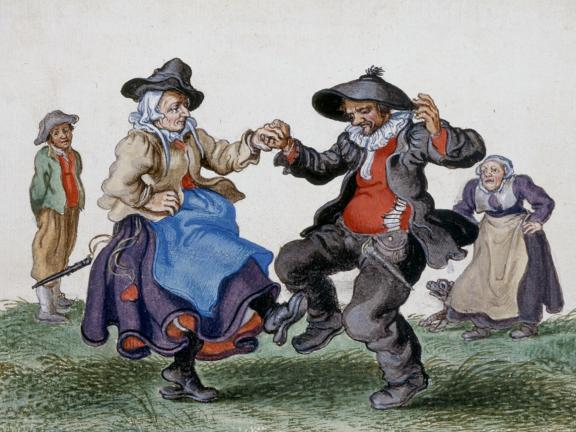 Adriaen Van De Venne, (Watercolor) An Old Peasant Couple Dancing, 1625