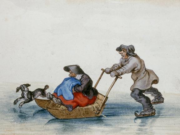 Adriaen Van De Venne, (Watercolor) A Peasant Pushing a Woman on a Sledge, 1625