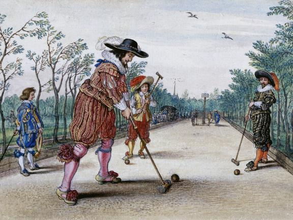Adriaen Van De Venne, (Watercolor) A Game of Pell-Mell, 1625
