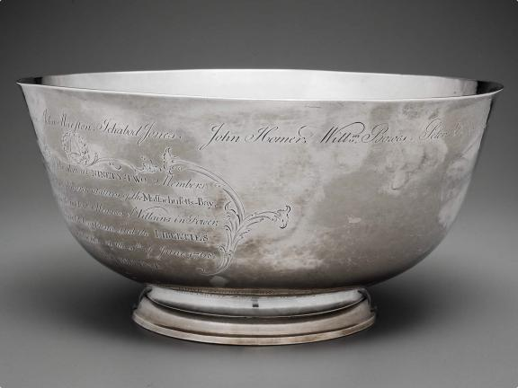 colonial American silver bowl with engravings on side