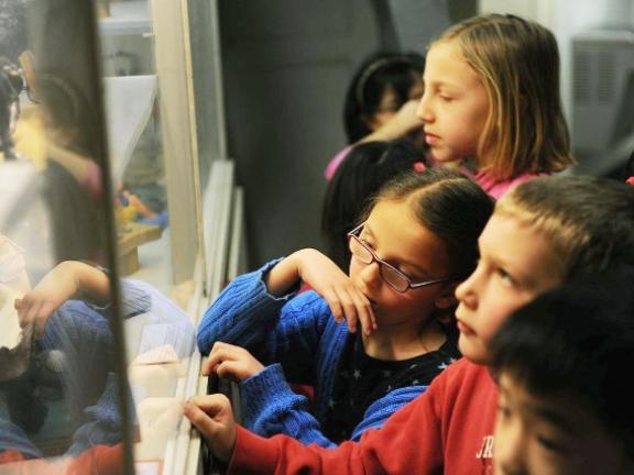 Children gather around a piece in the galleries