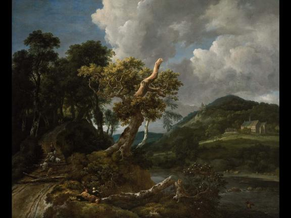 Jacob Isaacksz. van Ruisdael's painting, Wooded River Landscape with Shepherd