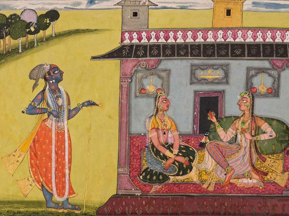 Detail from Indian watercolor attributed to Kripal: Adhama Vaishika Nayaka (The Depraved Hero) or The Hero Returns from Seeing Another Woman