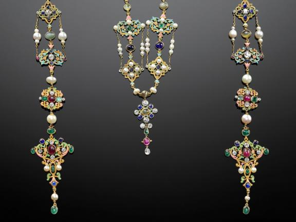 Renaissance revival neck ornament designed by G. Paulding Farnham for Tiffany & Co.