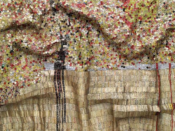 Detail of El Anatsui's tapestry, Black River