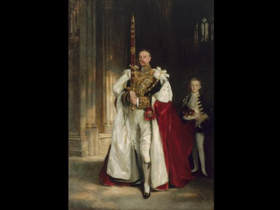 John Singer Sargent, Charles Stewart, Sixth Marquess of Londonderry, Carrying the Great Sword of State at the Coronation of King Edward VII, August, 1902, and Mr. W. C. Beaumont, His Page on That Occasion, 1904