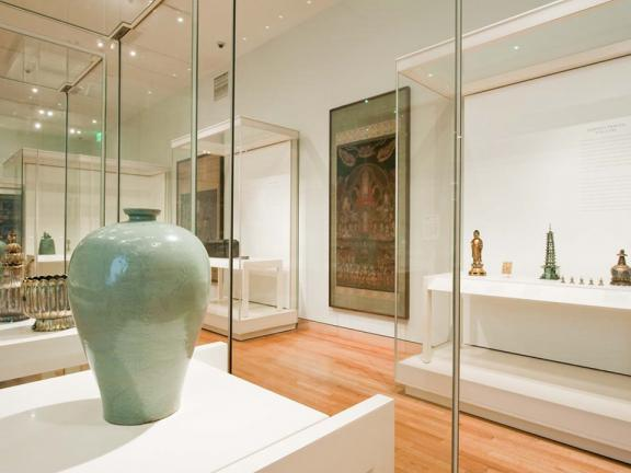 View of Arts of Korea gallery with large green vase in foreground