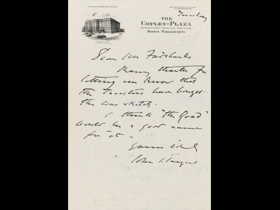John Singer Sargent to Mr. Clark, Nov 23, 1923