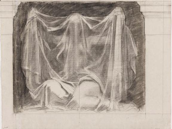 drawing of kneeling figure holding translucent veil