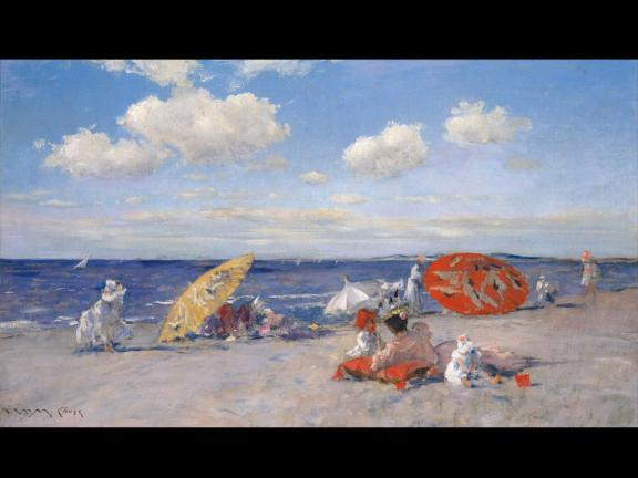 Impressionist painting of beach with umbrellas