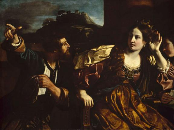 Guercino's painting, Semiramis Receiving Word of the Revolt of Babylon