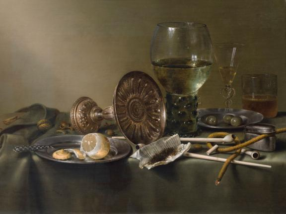 Detail of Willem Claesz. Heda's painting, Still Life with Glasses and Tobacco