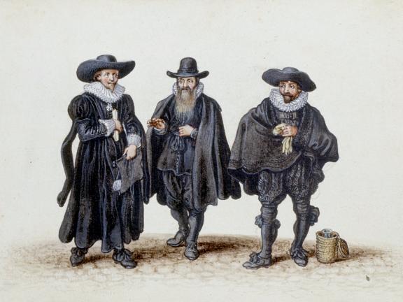Adriaen Van De Venne, (Watercolor) Three Doctors, of Law, Theology, and Medicine, 1625