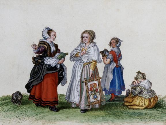 Adriaen Van De Venne, (Watercolor) Three Women and a Child, 1625