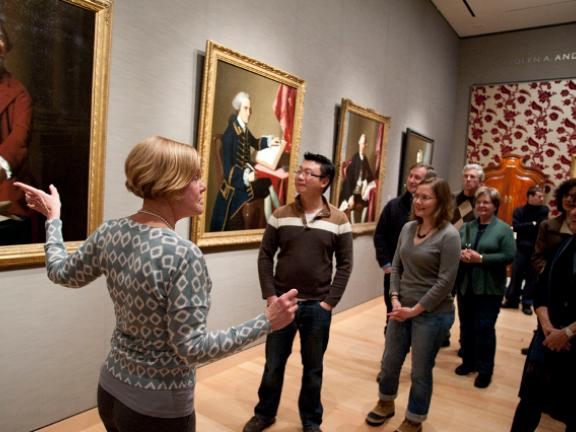 Guide leading tour in John Singleton Copley gallery