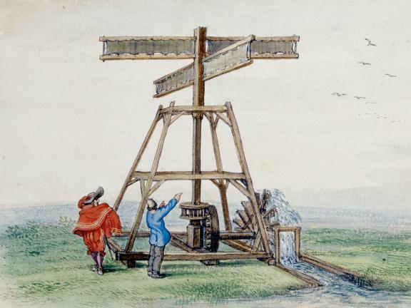 Adriaen Van De Venne, (Watercolor) A Wind-powered Water Pump, 1625