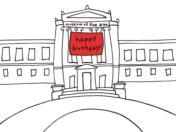Drawing of Museum facade with Happy Birthday sign