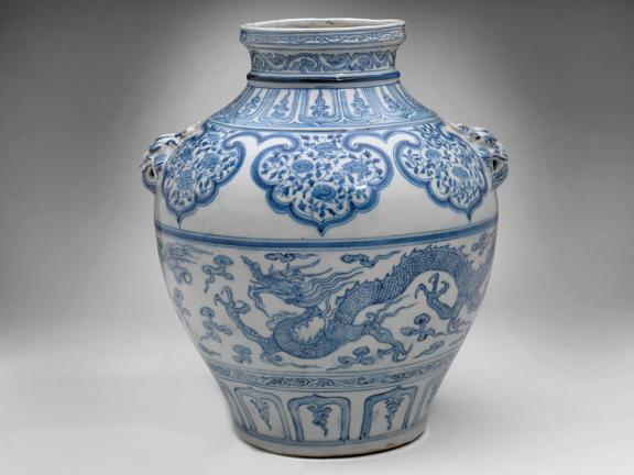 Chinese, Yuan dynasty, Guan-type jar with lion's-head handles, mid-14th century