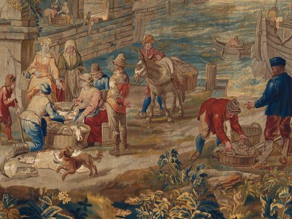 Detail of 18th century Flemish tapestry, The Fish Market